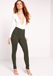 Missguided Utility Pocket Skinny Trousers Khaki Beige