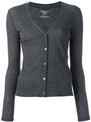 Majestic Filatures V Neck Buttoned Cardigan Grey