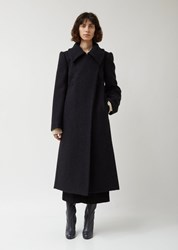 Christophe Lemaire Soft Wool And Mohair Melton Fitted Coat 999 Black