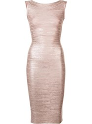 Herve Leger Sleeveless Fitted Dress Nude Neutrals