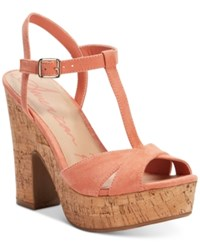 American Rag Jamie T Strap Platform Dress Sandals Only At Macy's Women's Shoes Coral Cork