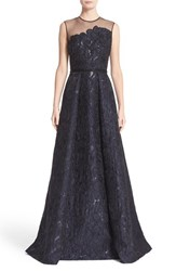 Carmen Marc Valvo Women's Couture Illusion Yoke Embroidered Jacquard A Line Gown
