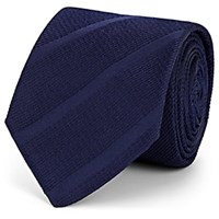 Barneys New York Striped Silk Faille Necktie Navy