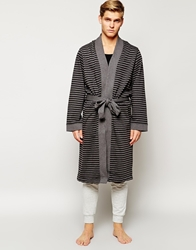 Hugo Boss Striped Dressing Gown Robe Grey
