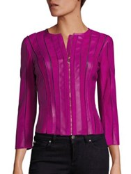 Versace Leather Moto Jacket Fuchsia