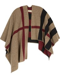Burberry Mega Check Wool And Cashmere Cape Black