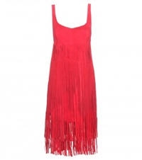 Tamara Mellon Fringed Suede Playsuit Red