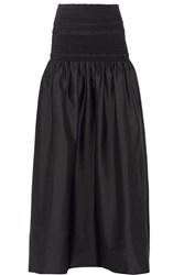 The Row Cial Strapless Smocked Stretch Cotton Blend Poplin Midi Dress Black