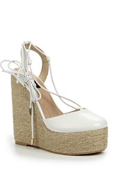 Lost Ink Cory Jute Wedge Closed Toe Espadrilles White