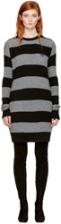 Mcq By Alexander Mcqueen Grey And Black Punk Stripe Swallow Sweater Dress