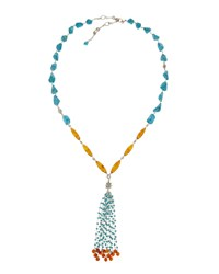 Stephen Dweck Silver Turquoise And Amber Tassel Drop Necklace Women's
