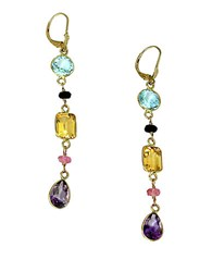 Effy Semi Precious Multi Stone And 14K Yellow Gold Linear Drop Earrings
