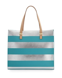 Neiman Marcus Bardot Metallic Striped Faux Leather Tote Bag Silver Caribbean