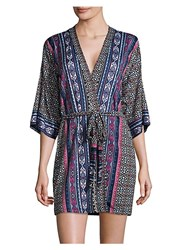 In Bloom Patterned Robe Black Burgundy