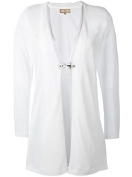 Fay Long Buckle Fastening Cardigan Women Polyester Viscose S White