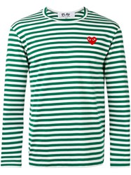 Comme Des Garcons Play Logo Stamp Striped Top Green