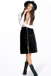 Boohoo Pocket Front Zip Detail Cord Midi Skirt Black