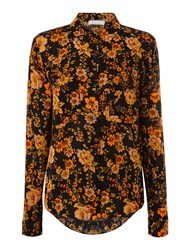 Samsoe And Samsoe Milly Dark Floral Shirt Black