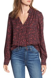Hinge Ruffle V Neck Blouse Navy Night Blossom Toss