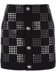 Versus Studded Checked Skirt Black