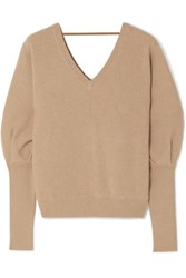 Brunello Cucinelli Bead Embellished Ribbed Cashmere Sweater Beige