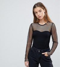 Noisy May Petite Grid Mesh Body Black