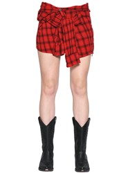 Faith Connexion Lurex Plaid Heavy Gauze Mini Shirt Skirt