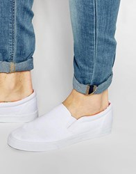 Asos Slip On Plimsolls With Floral Print Lining White