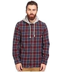 Vans Lopes Long Sleeve Flannel Port Royale Dress Blues Men's Clothing Red