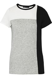 Vince Color Block Pima Cotton And Modal Blend T Shirt Gray