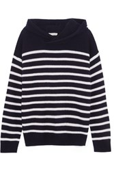 Vince Hooded Striped Cashmere Sweater Midnight Blue