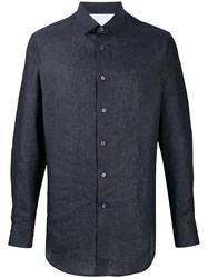 Brioni Long Sleeve Fitted Shirt Blue