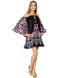 Roberto Cavalli Printed Silk Georgette And Lace Dress