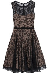 Mikael Aghal Embroidered Devor And Eacute Organza Dress Black