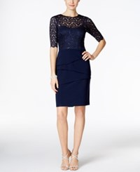 Betsy And Adam Petite Illusion Sequined Lace Sheath Dress Navy