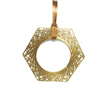 Dream Of Songs Hexagon Statement Necklace Brass Gold