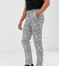 Heart And Dagger Slim Cropped Smart Trouser In Textured Floral Black