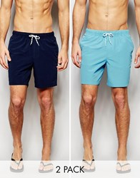 Asos Mid Length Swim Shorts 2 Pack In Navy And Blue Save 17 Navyblue