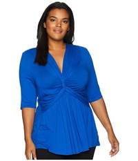Kiyonna Caycee Twist Top Cobalt Short Sleeve Pullover Blue
