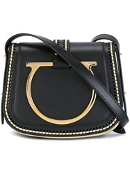 Salvatore Ferragamo Oversized Gancio Saddle Bag Black