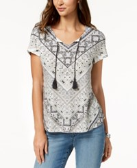 Styleandco. Style Co Petite Printed Peasant Top Created For Macy's Italian Angle