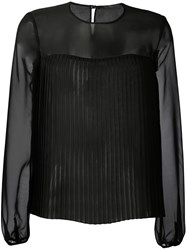 Max Mara Ferro Sheer Blouse Women Silk Polyamide Polyester 42 Black