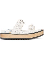 Alexander Mcqueen Contrast Sandals Women Leather Rubber 37 White