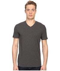 Vince Short Sleeve Pima Cotton V Neck Shirt Heather Carbon Men's Short Sleeve Pullover Gray