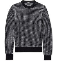 Raf Simons Birdseye Cotton Blend Sweater Navy