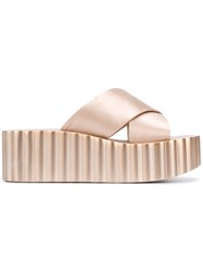 Tory Burch Flatform Crossover Strap Sandals Nude And Neutrals