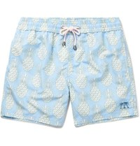Pink House Mustique Mid Length Printed Swim Shorts Light Blue