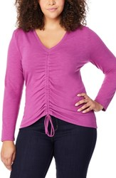 Rebel Wilson X Angels Plus Size Ruched Front V Neck Top Deep Orchid