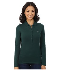 Lacoste Long Sleeve Stretch Pique Polo Evergreen Women's Long Sleeve Pullover