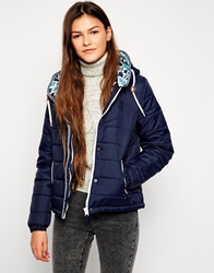 Bellfield Hooded Padded Jacket With Contrast Lining Navy